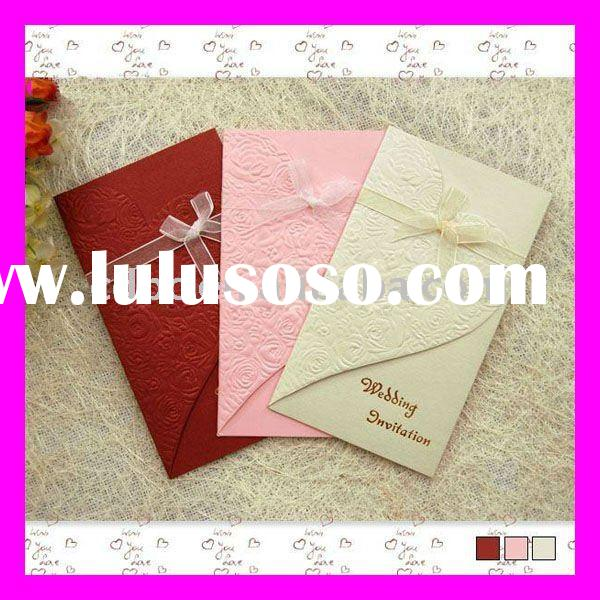 Elegant Embossing Wedding Card--Western Style Rose Desgin Wedding Invitation Card with Ribbon Decora