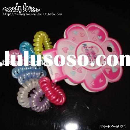 FASHION HAIR ACCESSORIES&PLASTIC TELEPHONE CORD PONYHOLDERS