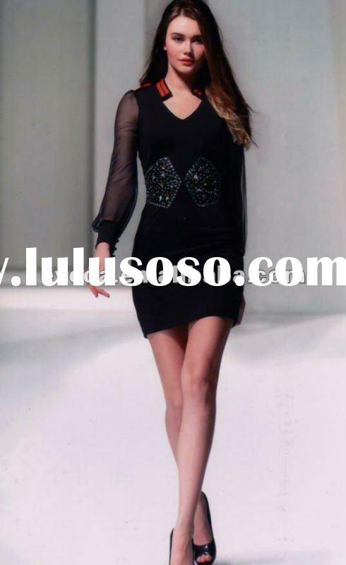 Fashion beaded Women's Dress 2012 spring dress Office lady