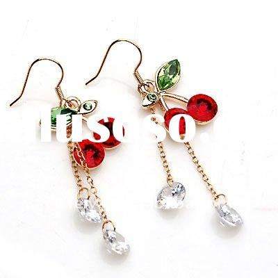 Fashion costume jewelry lovely crystal cherry earrings