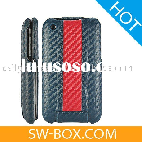 Flip Carbon Fiber Leather Hard Case Cover for iPhone 3GS iPhone 3G (Blue / Red