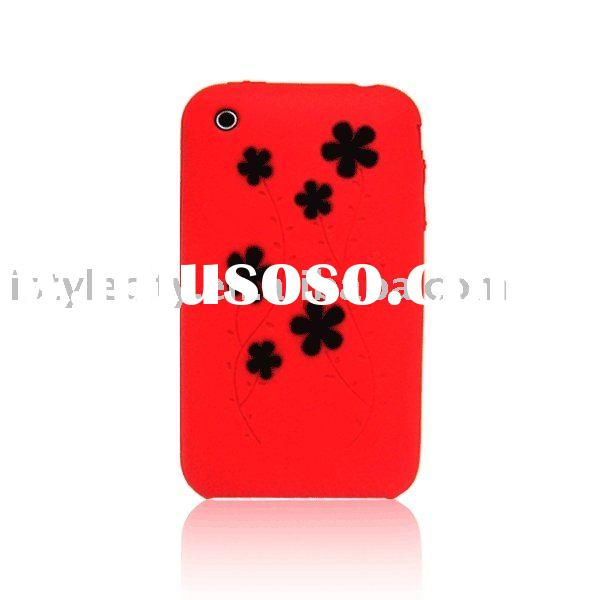 Flower Protective Silicone Case & Free Screen Protector for iPhone 3G/3GS (Red/Black)