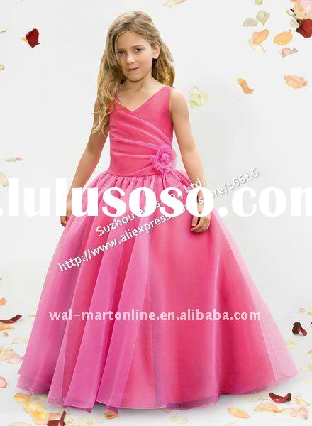 Free shipping BD582 Pink Organza Handmade Flowers Princess Flower Girl Dress