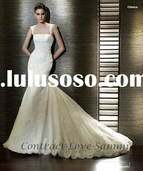 Free shipping S-541 removable train lace bridal wedding dress with veil
