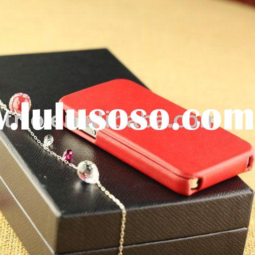 Genuine leather with lining microfiber flip hard cases for iPhone 4 4G