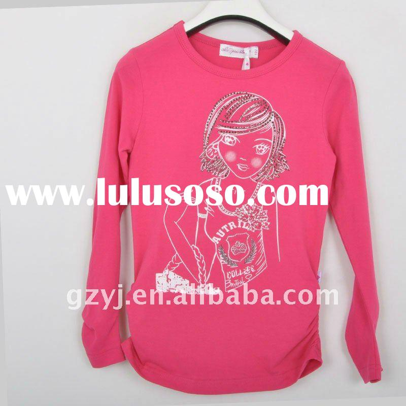Girls long sleeve cotton t shirt printing