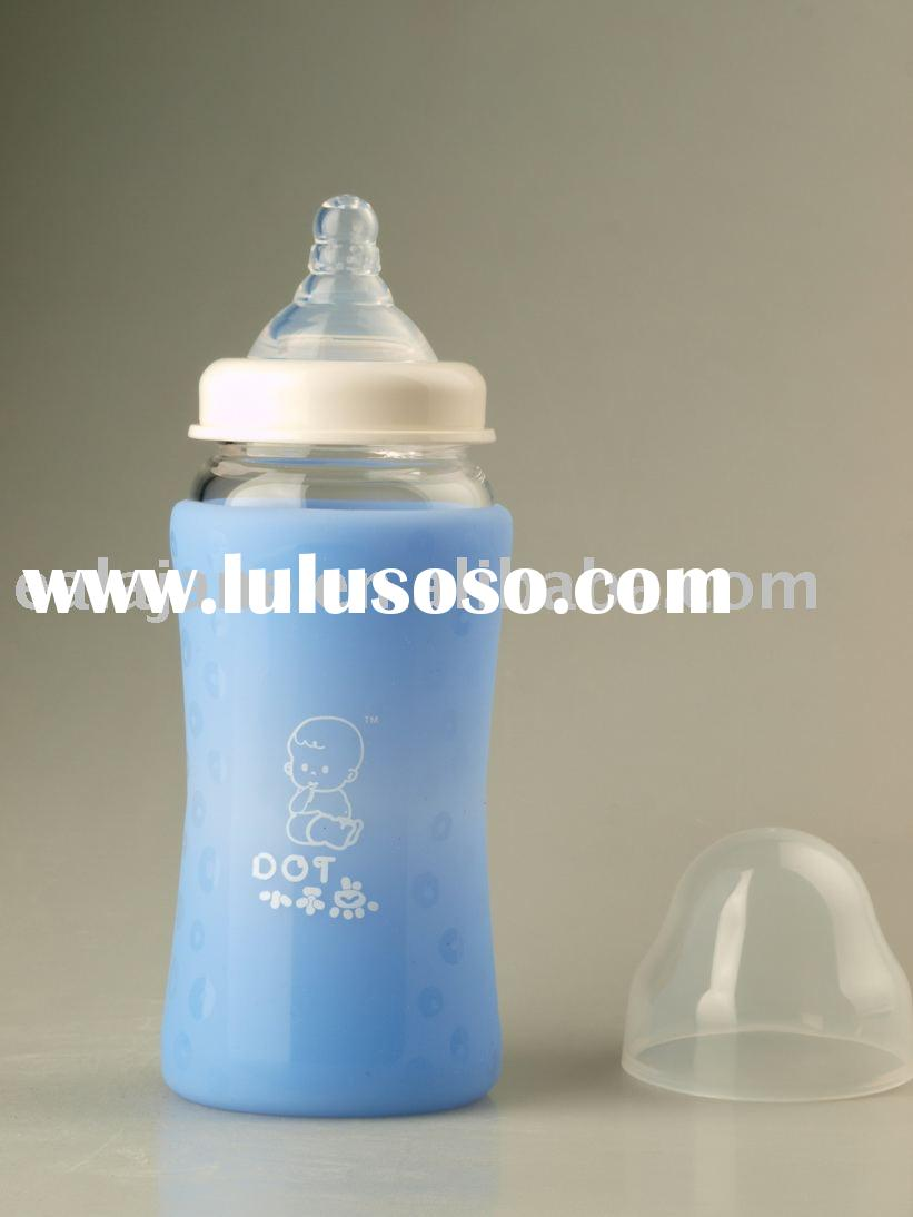 Glass Feeding Bottle With Silicone Sleeve