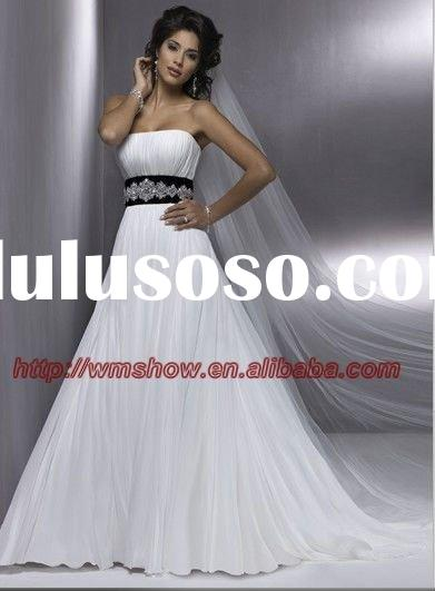 Gorgeous Style Off-shoulder Beaded Belts Chiffon Black And White Wedding Dress