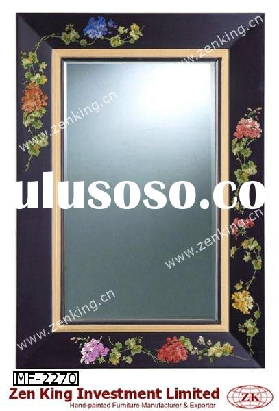 Hand Painted Decorative Wall Mirror with Floral Design
