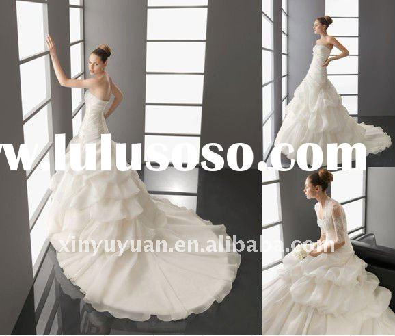 Hot! 2012 Latest Modern A Line Fashion Organza Long Sleeve Lace Sweetheart Princess Gown Wedding Dre