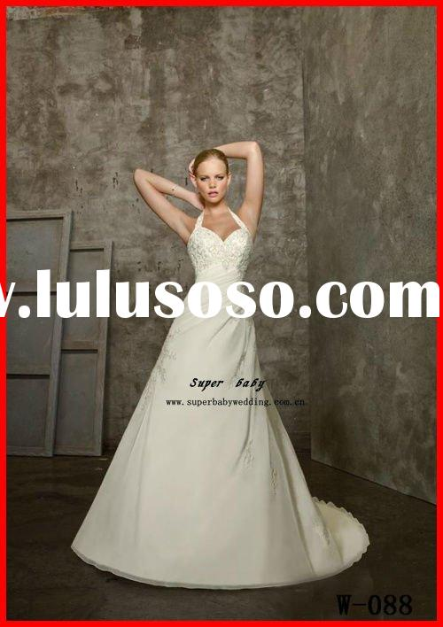 Hot sale newest design chiffon and satin halter ball gown modern W-087 romantic wedding dresses
