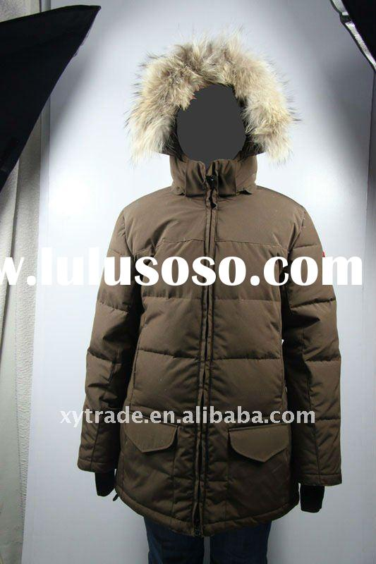 Hot sale women brown winter long goose down jacket big order with free shipping