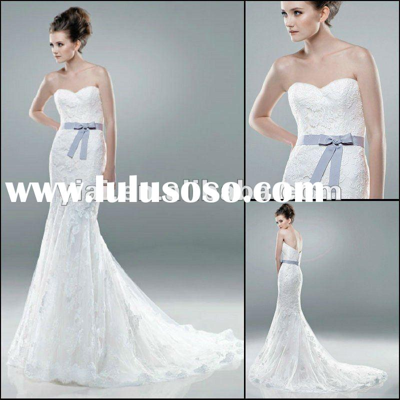 JJ2807 Newest Beaded Sleeveless Lace Mermaid wedding dress 2012