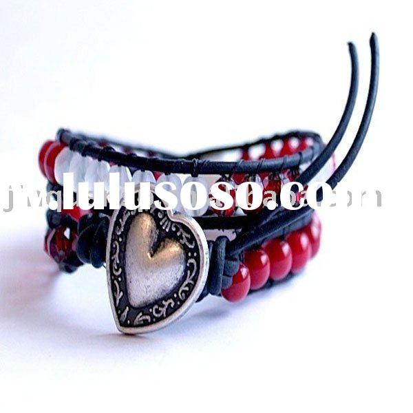 Japan- Leather Double Wrap beaded Bracelet or Necklace