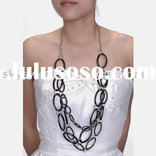 Jet Rings Handmade Costume Jewelry Long Necklaces (SWTNC012)