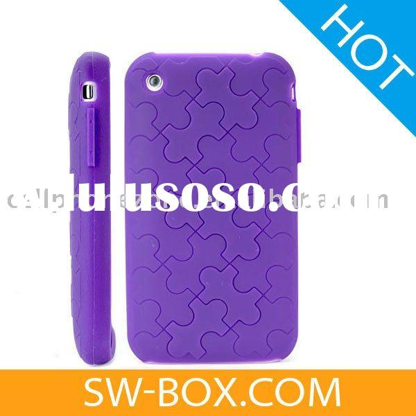 Jigsaw Puzzle Pattern Silicone Skin Case for Apple iPhone 3GS iPhone 3G (Purple) /for iphone 3g case