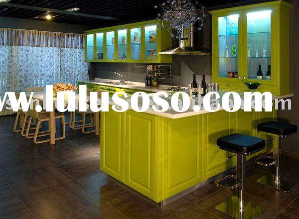 KC0818-2 Classic design high gloss green color lacquer kitchen cabinet
