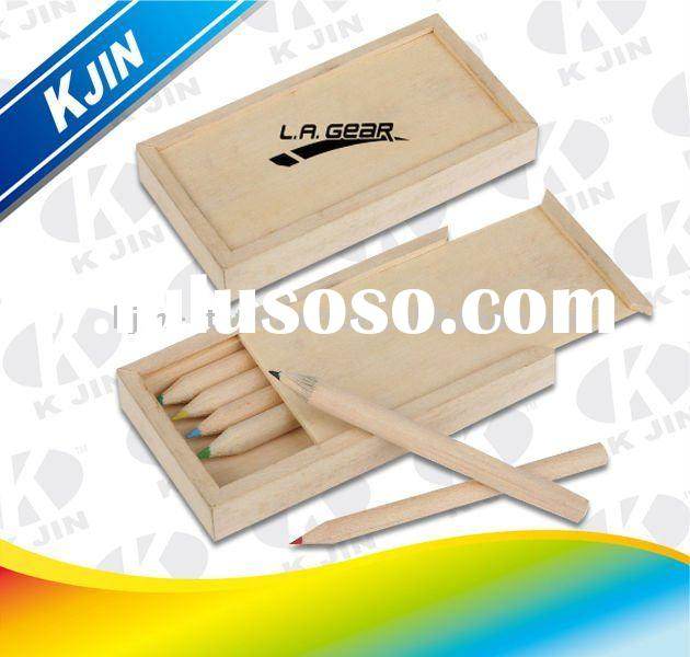 Kijn promotion wooden color pencil in wooden case