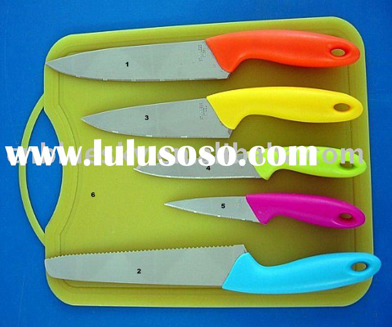 Knife Set with PP Cutting Board and Stainless Steel and ABS Tang