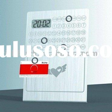 LCD table clock with memo board metal LCD clock promotional LCD calendar clock with memo board novel