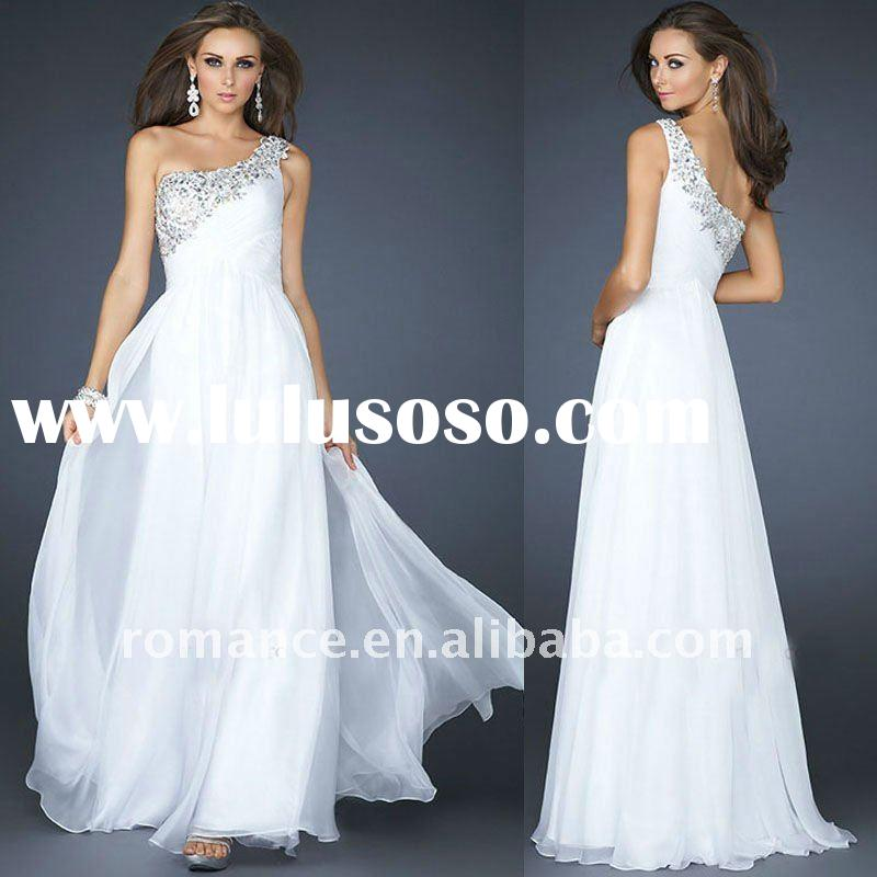 LD1952 Fashion White Beadings Chiffon One-Shoulder Formal Ladies' Evening Dress 2012