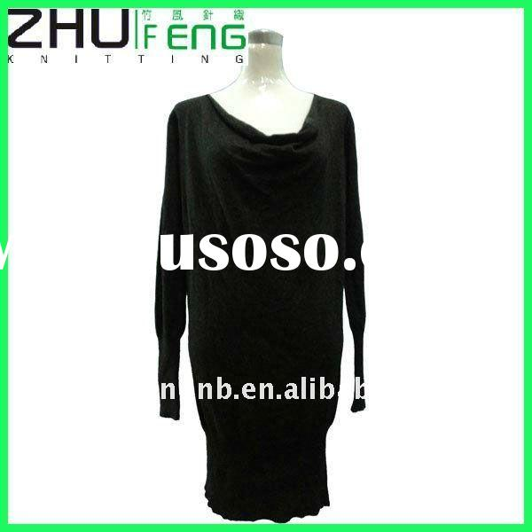 Ladies' knit black dress long sleeve free collar