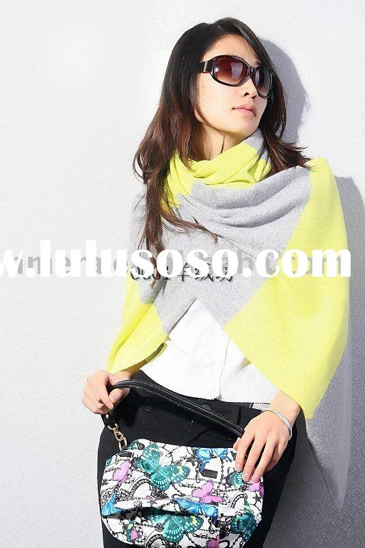 Ladies' knitted stripes 100% cashmere scarf