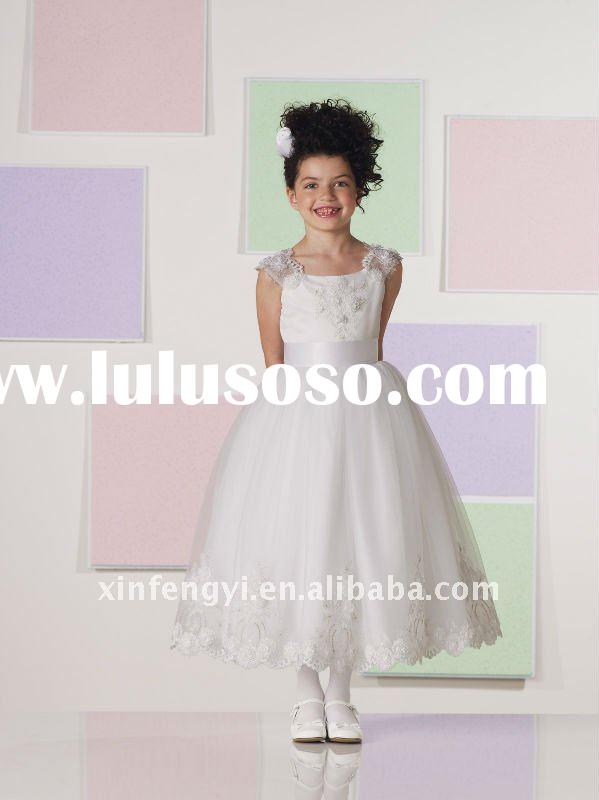 Lovely wide straps lace appliques tulle wedding flower girls dresses