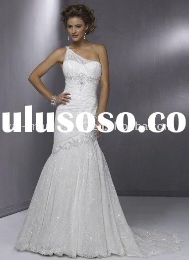 MG451 Appliqued White Lace Mermaid Open Back One-Shoulder Bridal Wedding Dress 2012