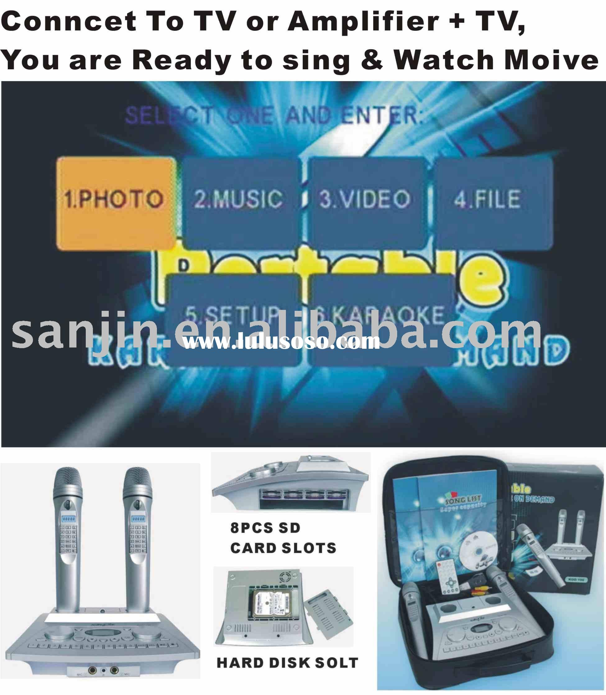 Magic Sing Along Portable Karaoke player+4PcsSD Card Slots+160GB Hard Disk (optional)+download(KOD-1