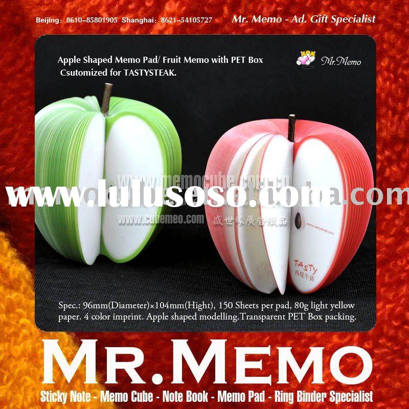 Memo pad--Apple shaped with PET box for promotion/notepad/memo pad/sticky note/stationery
