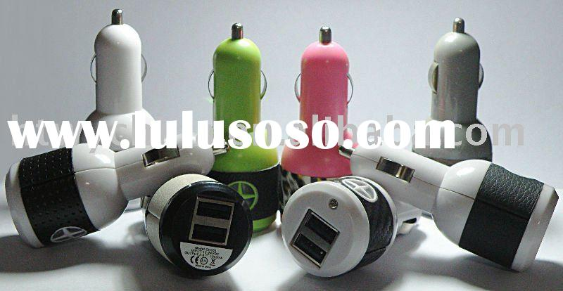 Mini Dual USB Car Charger for iPhone /for iPad /for iPod, 5V/2A and 5V/1A