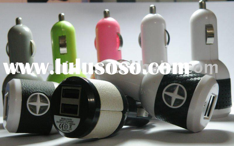 Mini Dual USB Car Charger for iPod /for iPad /for iPhone, 5V/2A and 5V/1A