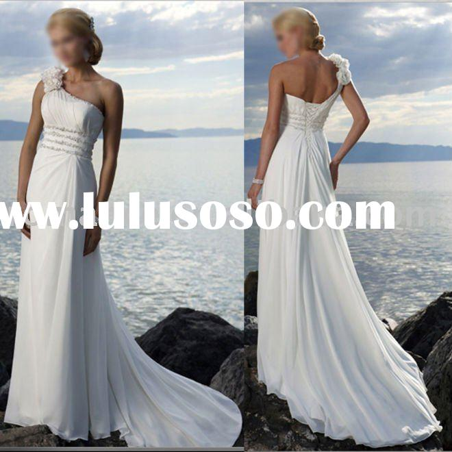NSD144 2011New Style High Quality One Shoulder Beaded Chiffon Beach Wedding Dress