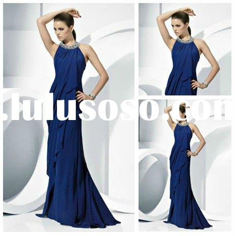 Navy Blue Halter Evening Dresses for Pregnant Women