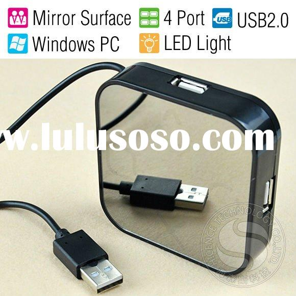 New 4 Port High Speed USB 2.0 Mirror Surface Mini HUB for Laptop & PC
