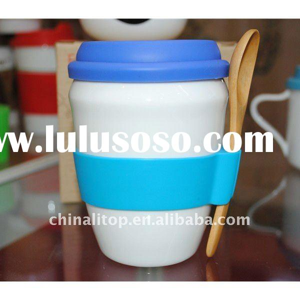 New Drinking Coffee Cup Travel Mug Drinks Cup Set with Wood Spoon and Silicone Lid & Sleeve &quo