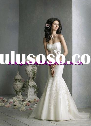 New style hot sale strapless silk sash appliqued hand made organza wedding dresses mermaid style