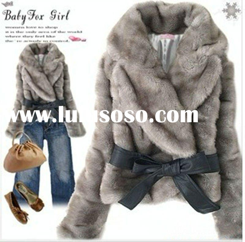 Newest style fashion warm faux fabbit fur coat for women