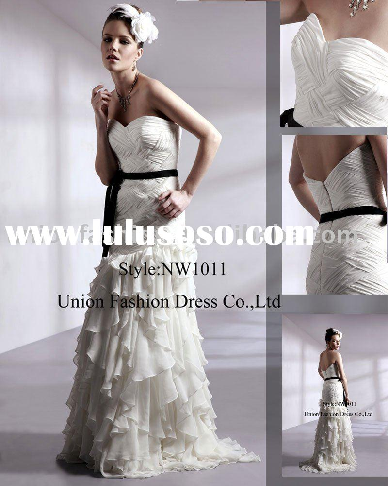 Newly gentle with black belt wedding Dress NW1011-2