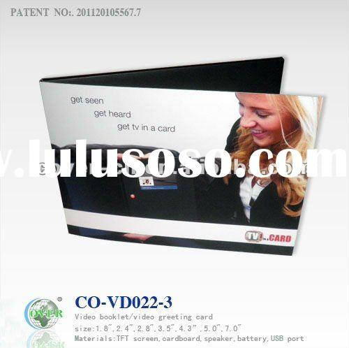 Novelty LCD Video Greeting Cards for Fair Display, Advertising and Promotional Gifts