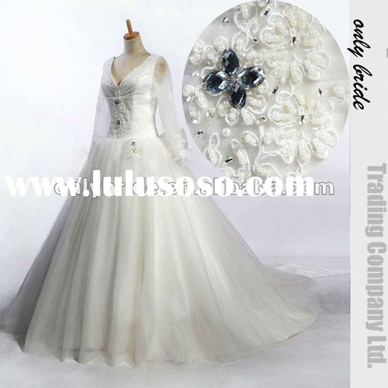 OL0440 Real Sample Beaded Long Sleeves Ball Gown Beaded Lace Tulle Skirt Bridal Gown 2012