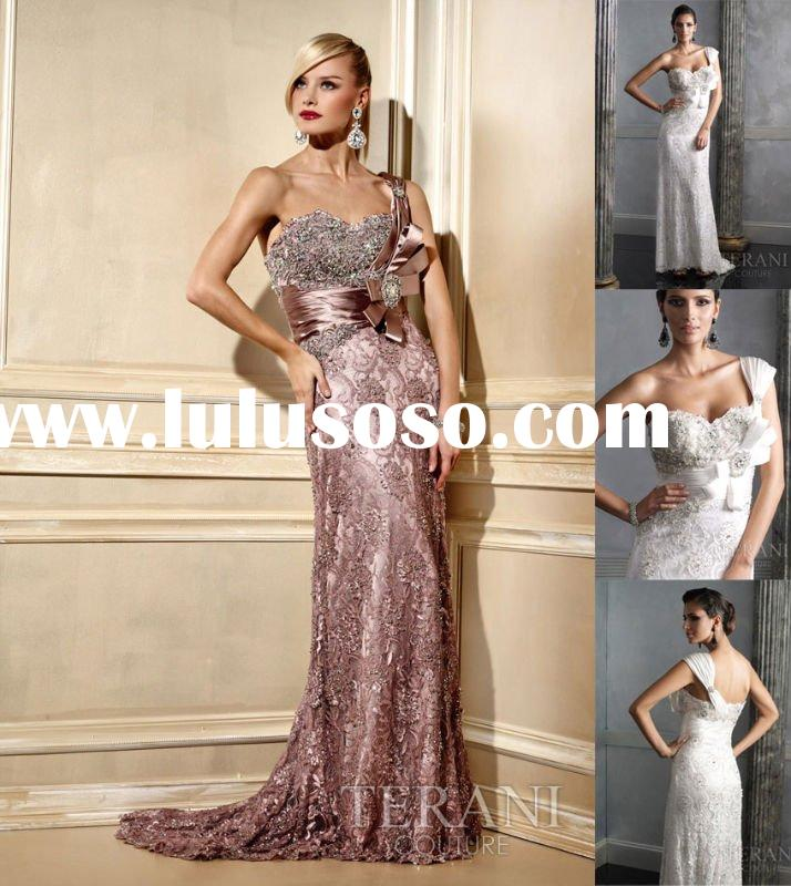 One Shoulder Bead Lace Applique Satin Evening Dress RO118