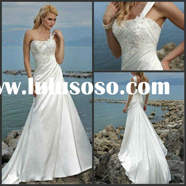 One Shoulder Satin Brush Train Beach Wedding Dress 2012