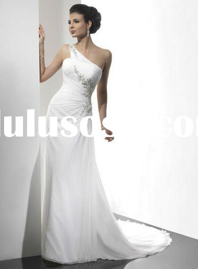 One shoulder beads simple chiffon wedding dress/2011 wholesale one shoulder beach chiffon bridal gow