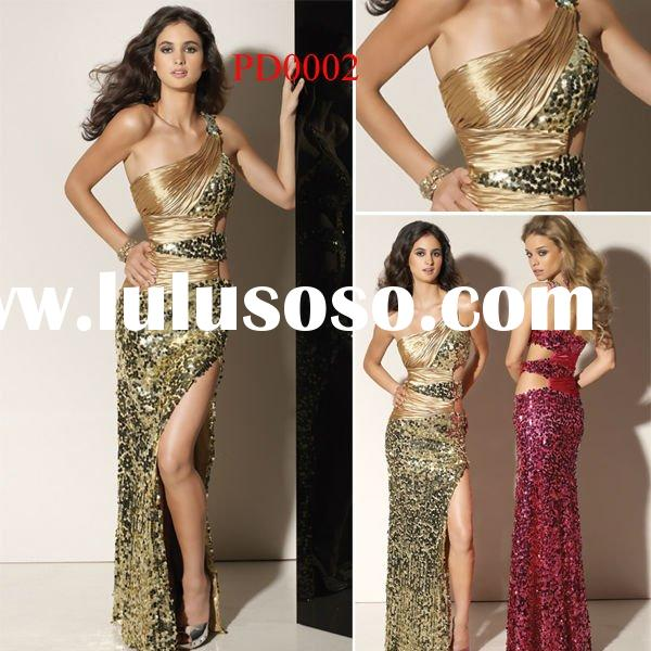 PD0002 One-Shoulder Beaded Satin Formal Evening Dress 2012