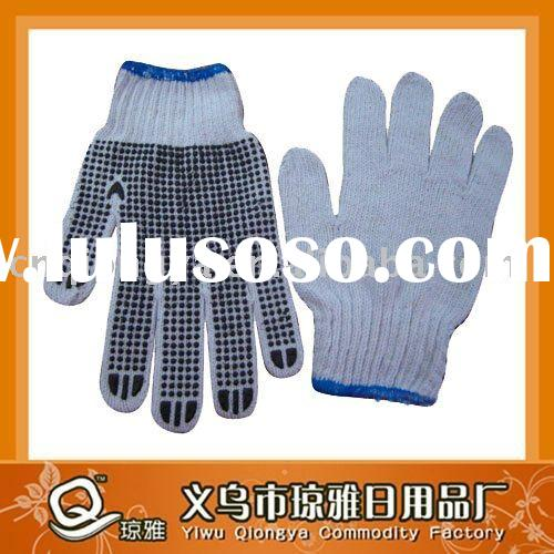 PVC dotted knitted cotton work gloves white