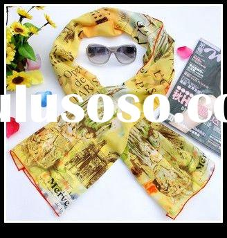 Paris painting printed fashion 100% silk scarf pattern