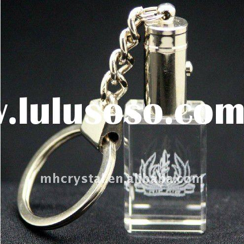 Personalized 3d laser Crystal keychain with A Knob Red Led light MH-YS0219