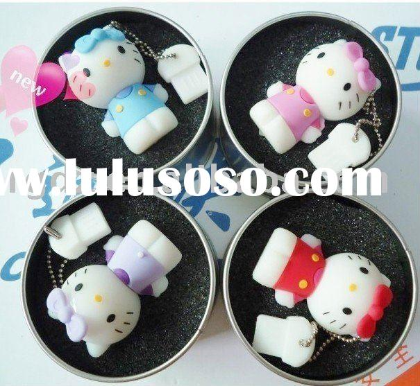 Promotion gift hello kitty USB flash memory drive,with metal gift box